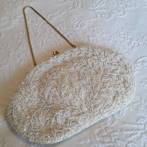 Handbags - Vintage beaded clutch with gloves